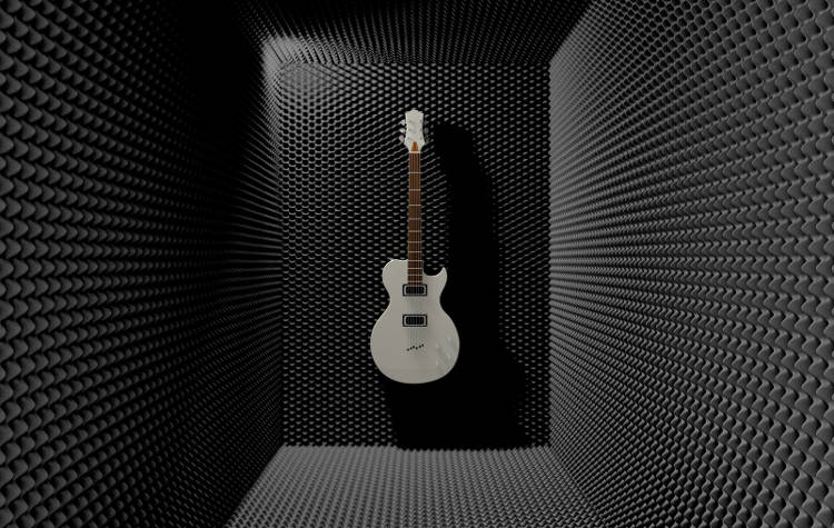 Guitar room covered with soundproof foam. A white electric guitar mounted on one of the walls.