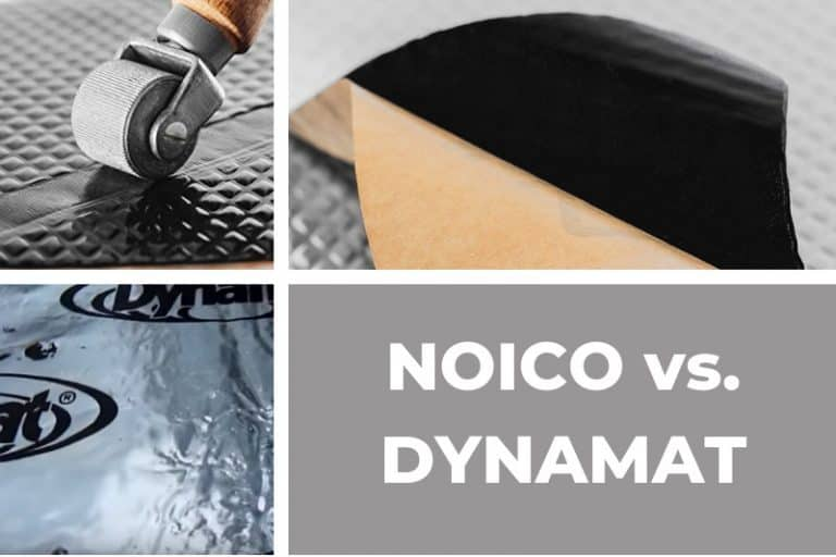 Noico 80 mil sound deadening mat and Dynamat Xtreme 67 mil sound deadener reviewed an compared in detail (price, usage, effectiveness, installation, and more).