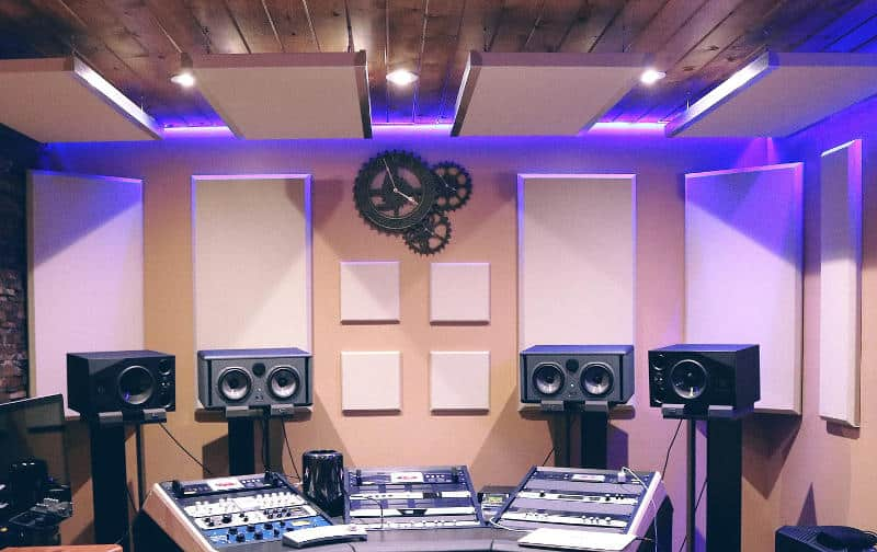 Acoustic panels on studio walls and ceiling,