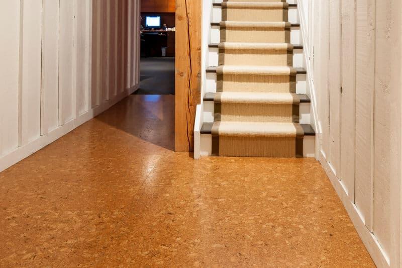 Cork flooring in the basement.
