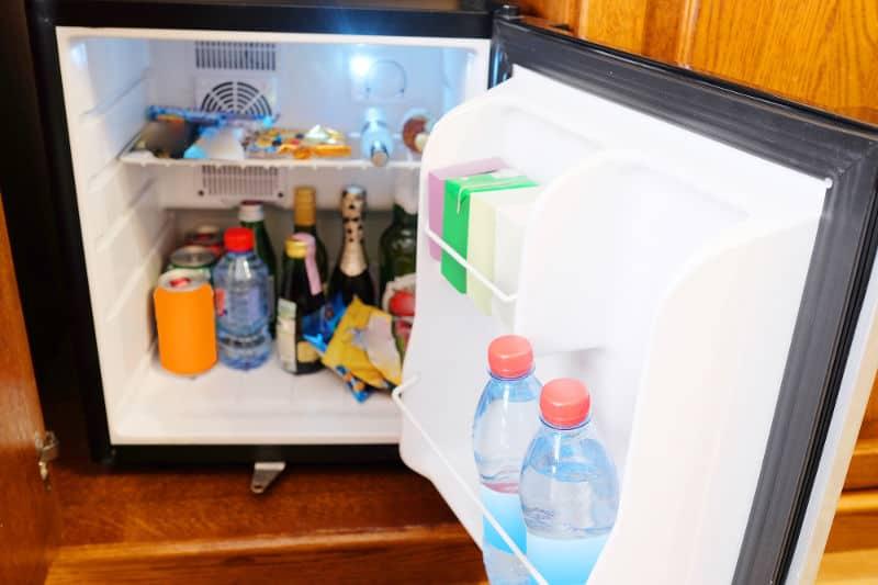 gray mini fridge
