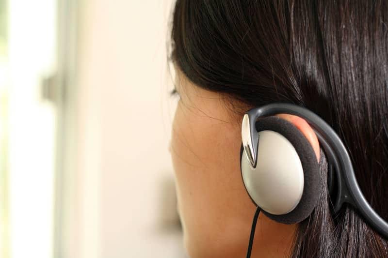 On-ear, behind-the-head headphones.