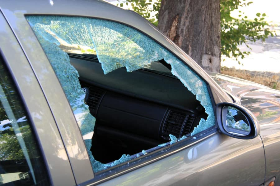 How to break a car window quietly and safely in case of emergency.