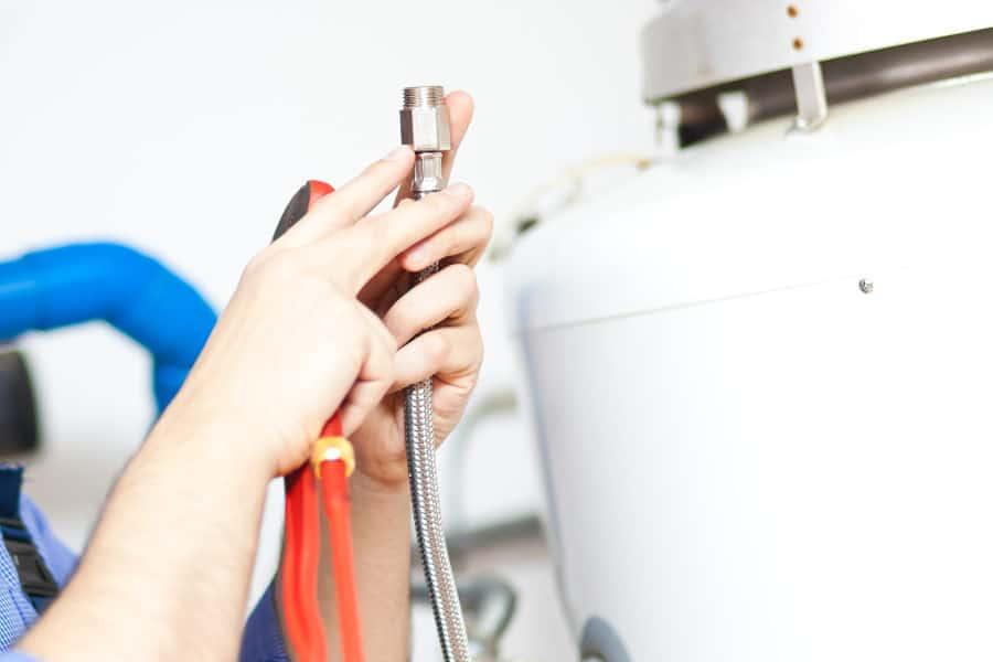 Water heater valve inspection.