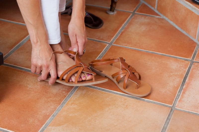 What to do with new sandals making noise.